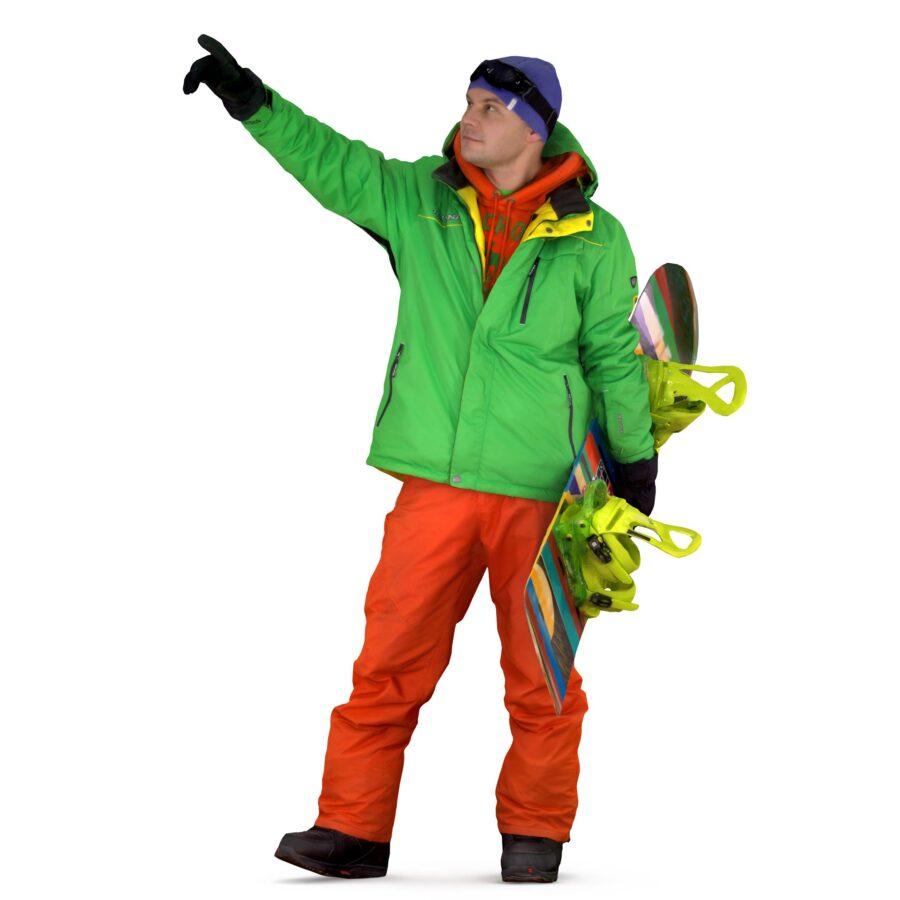 Snowboarder 3d man points - scanned 3d models - Renderbot