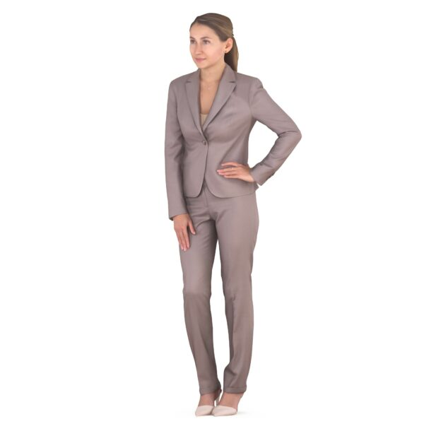 3d woman in a business suit hand to the side - scanned 3d models - Renderbot