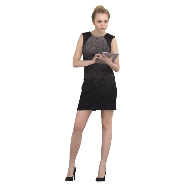 3d woman in black dress with notepad - scanned 3d models - Renderbot