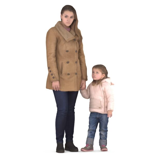 Mom and daughter in winter clothes - scanned 3d models - Renderbot