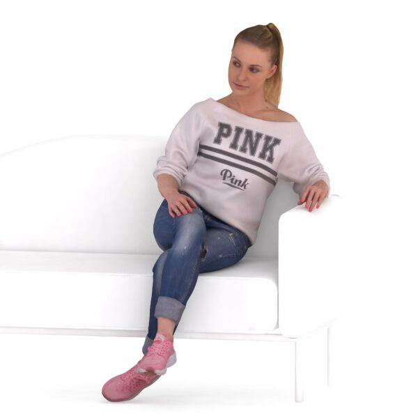 3d woman on bench - scanned 3d models - Renderbot