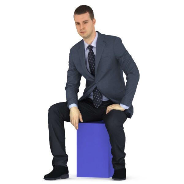 3d man business suit sitting pose talking - 3d models - Renderbot
