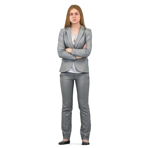 3d woman in business suit standing pose - scanned 3d models - Renderbot