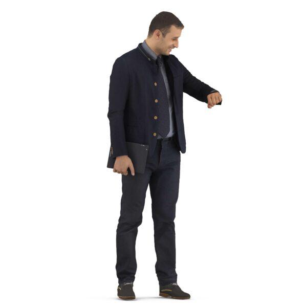 3d man business suit checking time - scanned 3d models - Renderbot