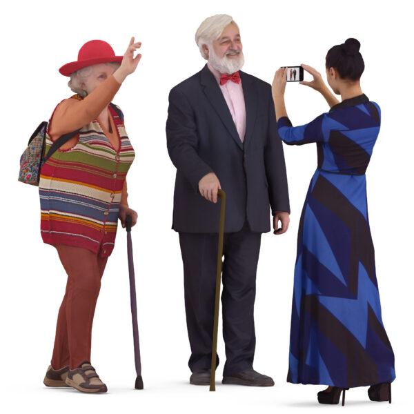 Elderly 3d people are photographed - scanned 3d models - Renderbot