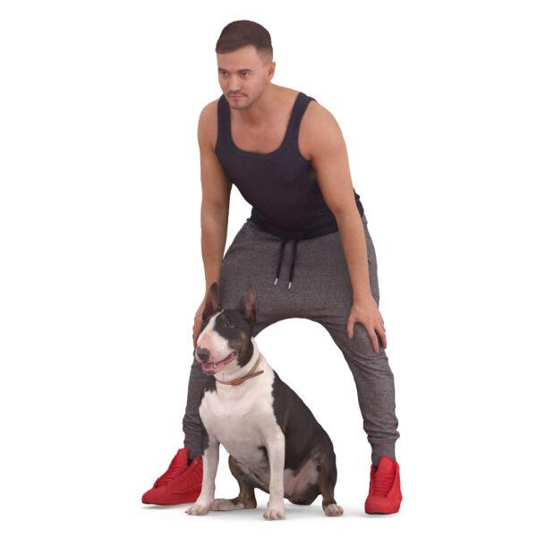 3d athlete and 3d dog Bull terrier - scanned 3d models - Renderbot