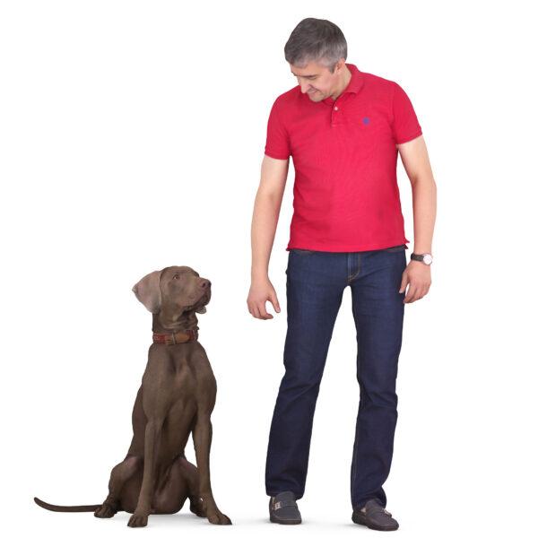 3d man and weimaraner 3d dog - scanned 3d models - Renderbot