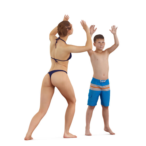 3d girl and boy playing with a ball - scanned 3d models - Renderbot
