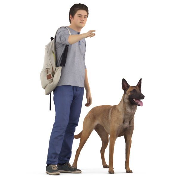 3d man and 3d dog malinois - scanned 3d models - Renderbot