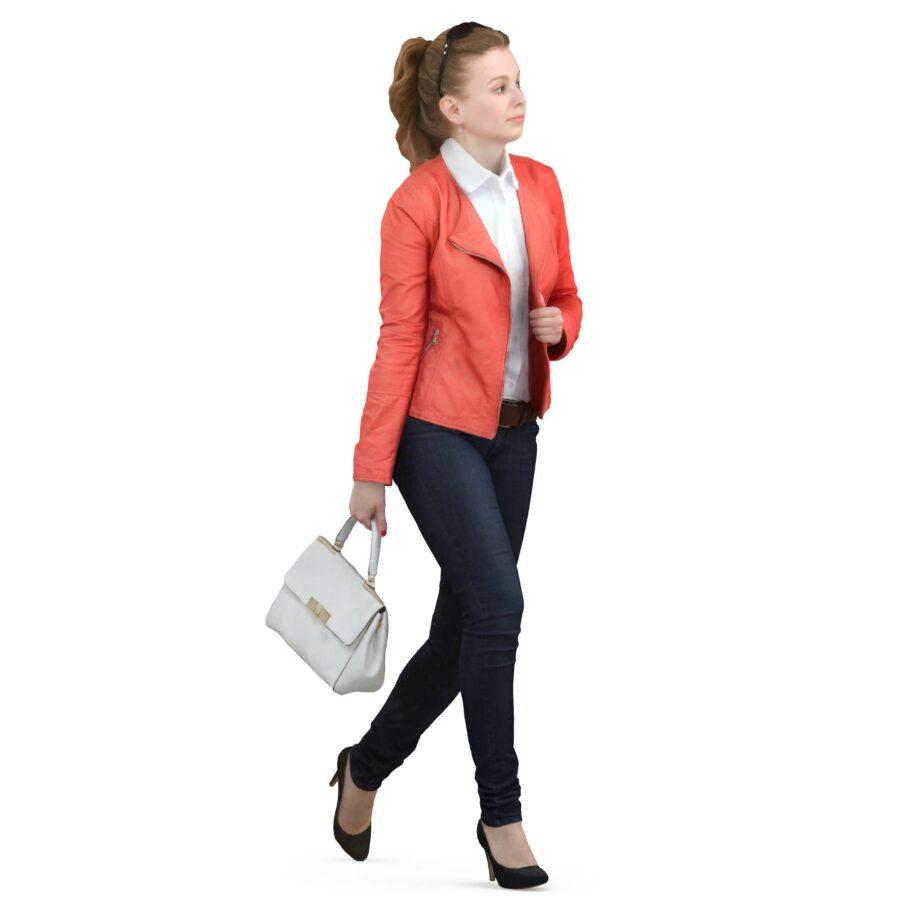 3d woman with handbag walking pose - scanned 3d models - Renderbot
