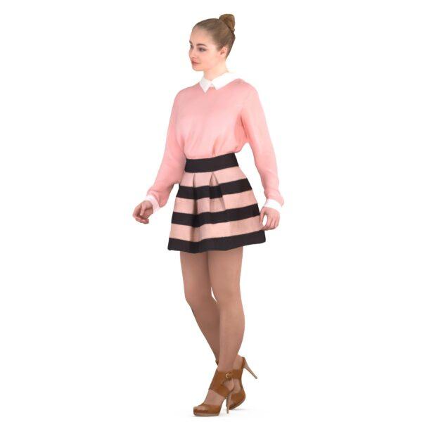3d girl in pink clothes - scanned 3d models - Renderbot