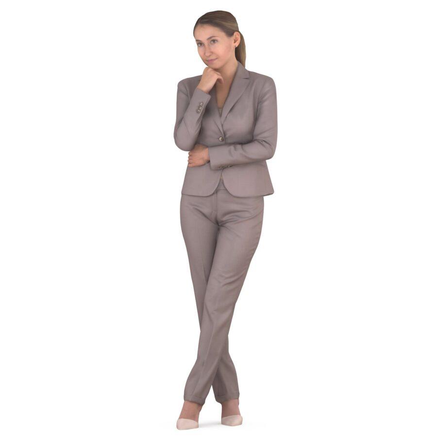 3d woman in beige suit - scanned 3d models - Renderbot