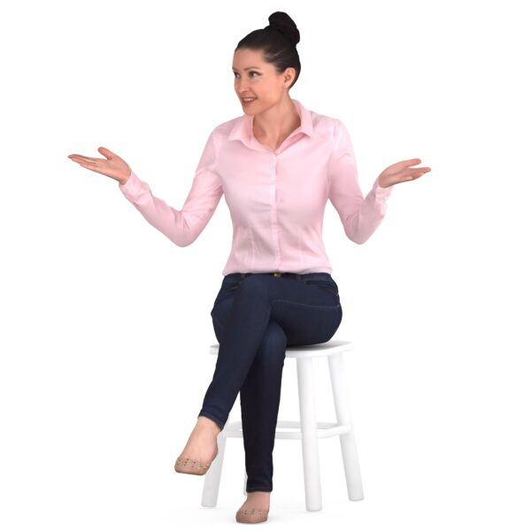 3d woman communicates sitting pose - scanned 3d models - Renderbot