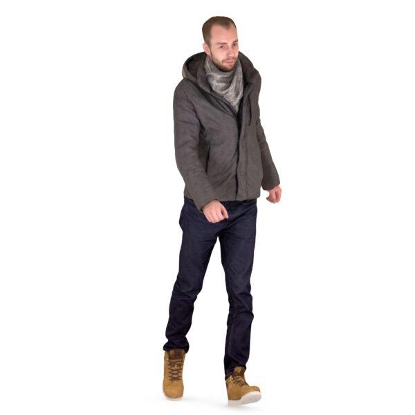 3d man in winter clothes walking pose - scanned 3d models - Renderbot