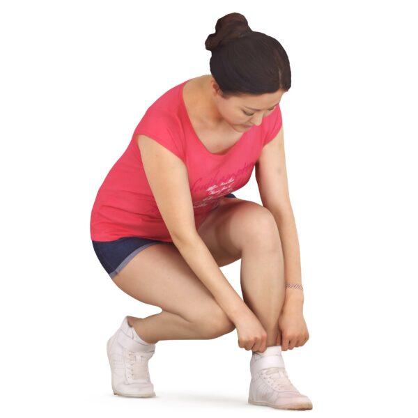 Fitness 3d girl tying shoelaces - scanned 3d models - Renderbot