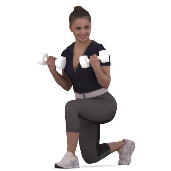 Sports 3d girl with dumbbells - scanned 3d models - Renderbot