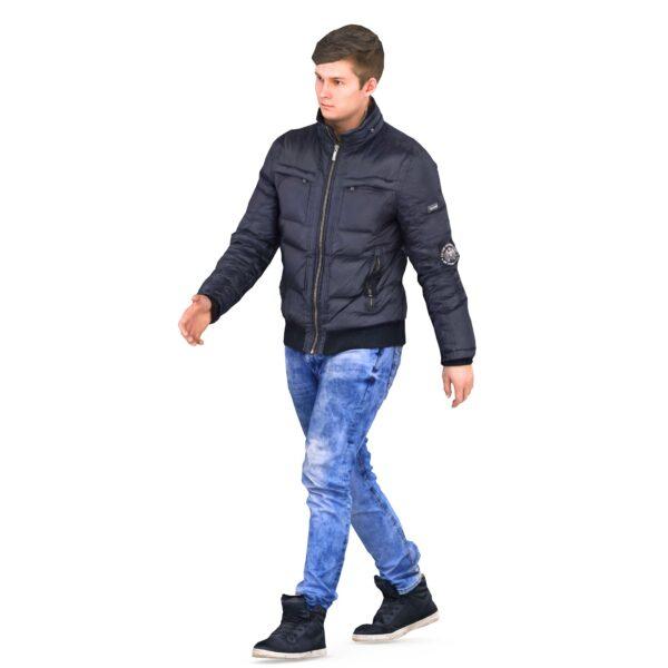 3d man in winter clothes walks - scanned 3d models - Renderbot