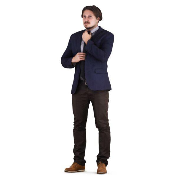 3d man straightens his tie - scanned 3d models - Renderbot
