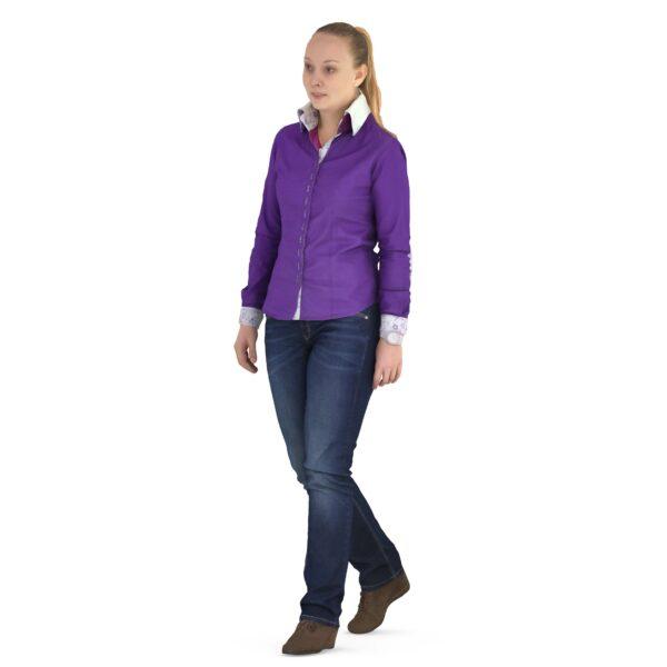 3d woman in purple shirt - scanned 3d models - Renderbot