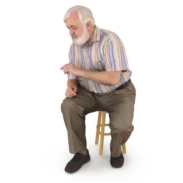 3d oldman sitting pose - scanned 3d models - Renderbot