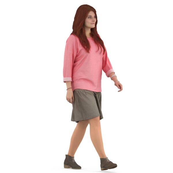 3d woman in pink clothes - scanned 3d models - Renderbot