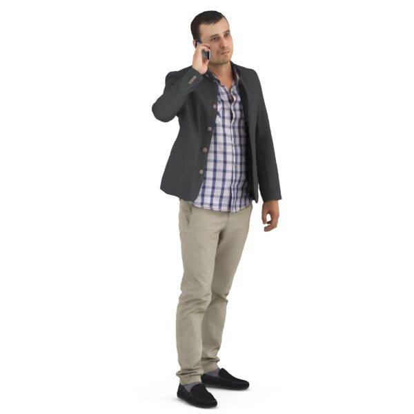 3d man in casual clothes communicates - scanned 3d models - Renderbot