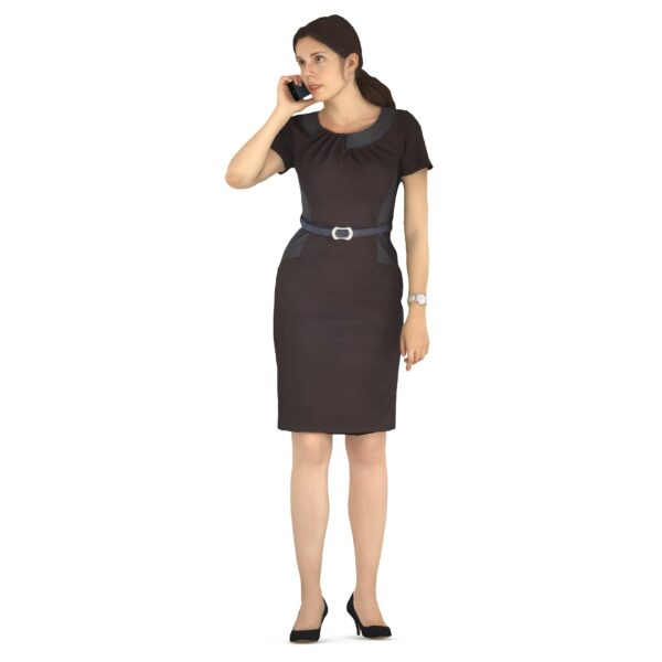 3d woman in black suit with phone - scanned 3d models - Renderbot