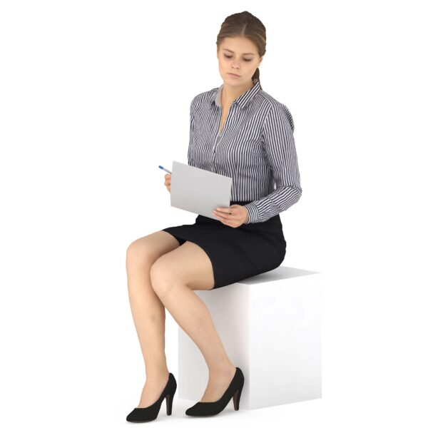 3d woman in suit with paper sitting pose - scanned 3d models - Renderbot