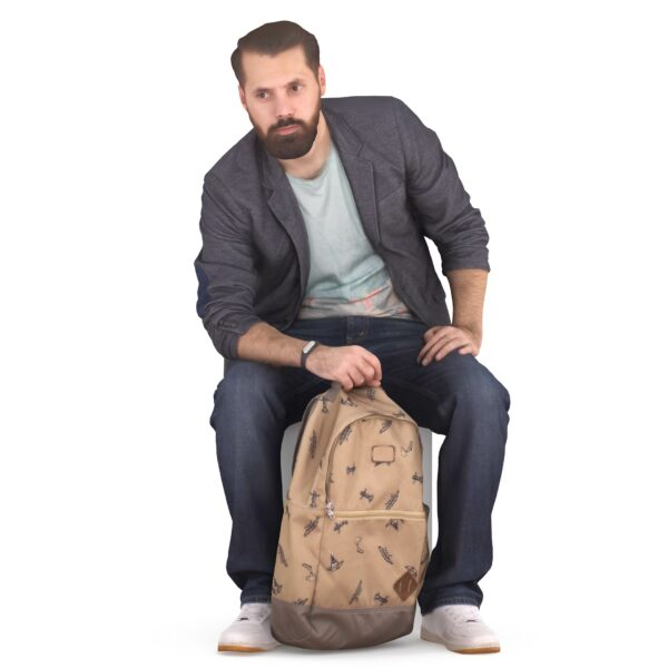 Bearded 3d guy with a backpack - scanned 3d models - Renderbot