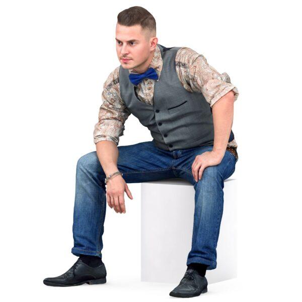 3d man in a vest sitting position - scanned 3d models - Renderbot