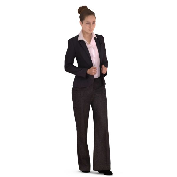 3d woman in business suit standig pose - scanned 3d models - Renderbot