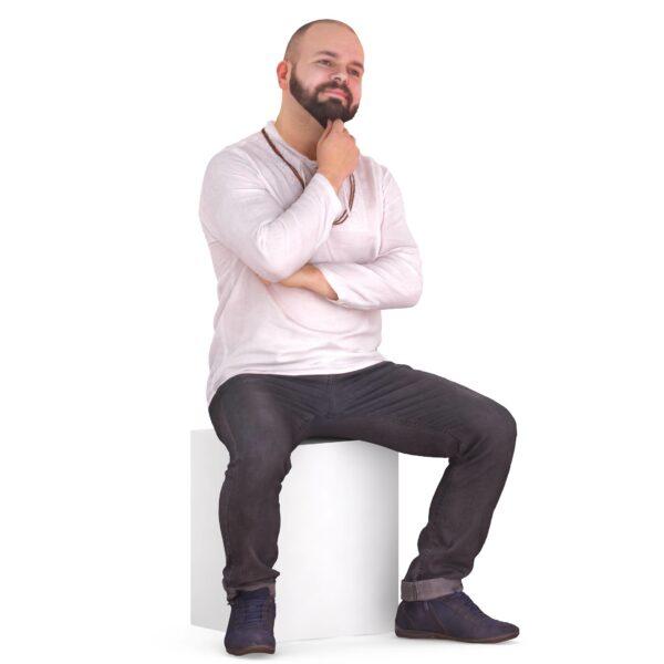 3d scanned man sitting pose - scanned 3d models - Renderbot