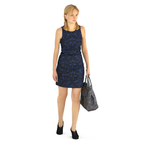 3d scanned woman in dress with bag - scanned 3d models - Renderbot