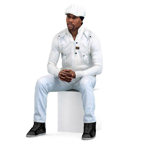 3d black man in white suit - scanned 3d models - Renderbot