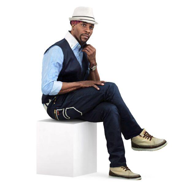 3d black man vest sitting pose - scanned 3d models - Renderbot