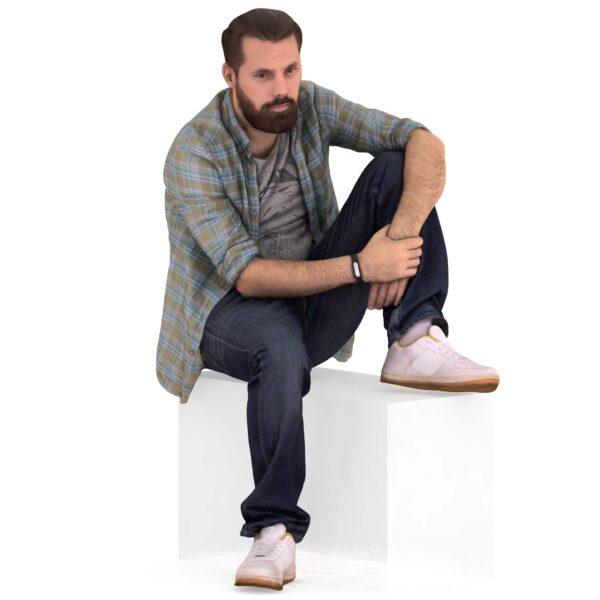 3d man sitting leg on a chair - scanned 3d models - Renderbot