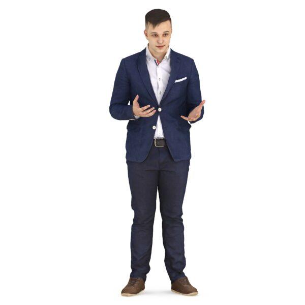 3d man in a suit makes a helpless gesture - scanned 3d models - Renderbot