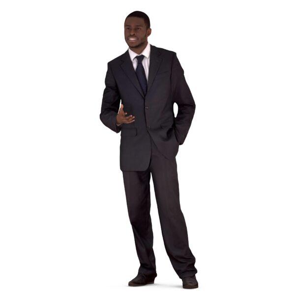 3d guy in a suit talking pose - scanned 3d models - Renderbot