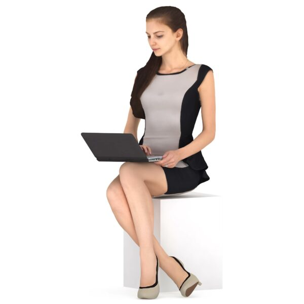 3d woman in suit with laptop - scanned 3d models - Renderbot