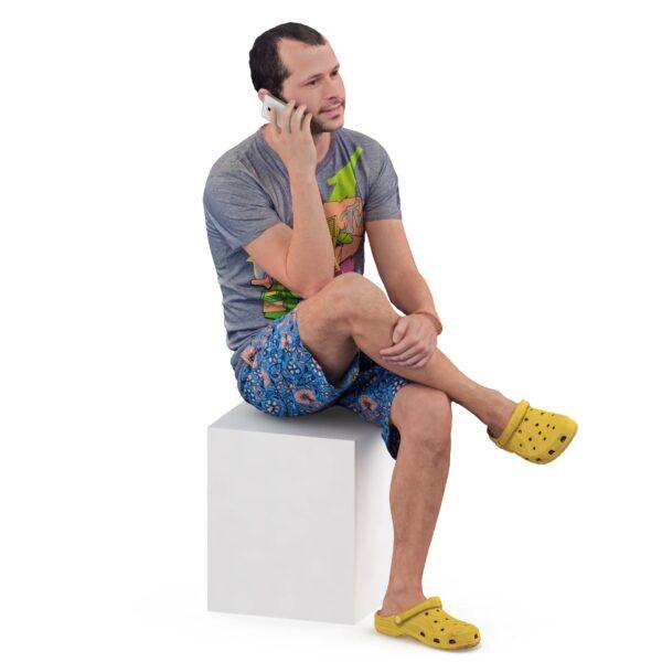 3d guy in crocs sitting pose - scanned 3d models - Renderbot