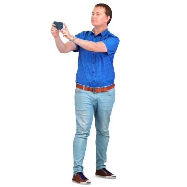 3d man takes pictures with phone - scanned 3d models - Renderbot