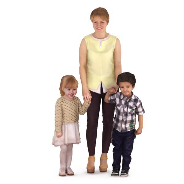 3d woman with two children - scanned 3d models - Renderbot