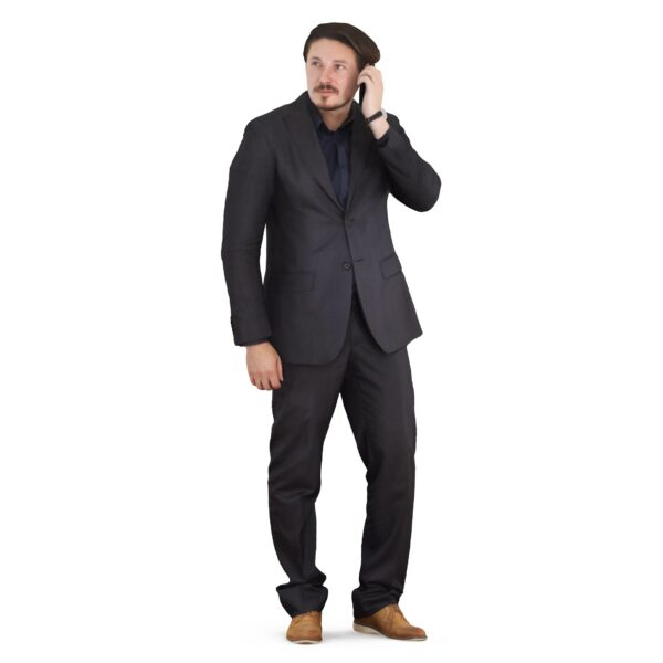 3d man in black suit talking on the phone - scanned 3d models - Renderbot