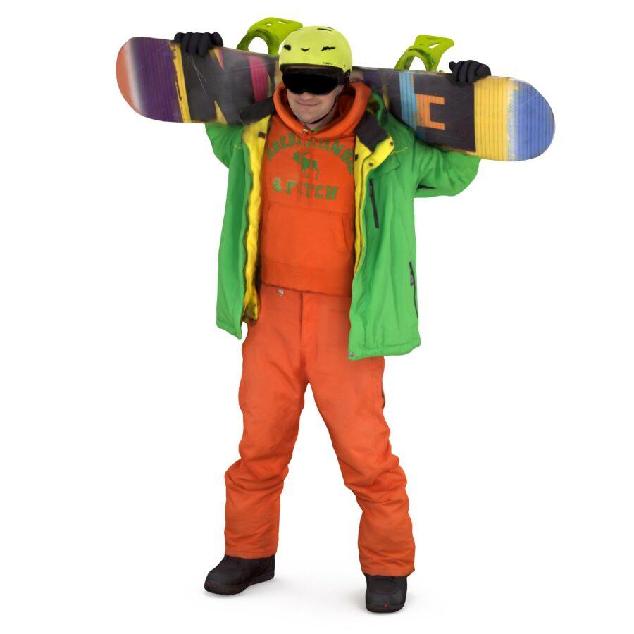 3d snowboarder board behind the back - scanned 3d models - Renderbot