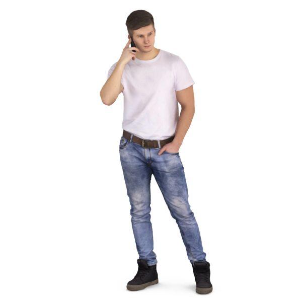 3d scanned man speaks by phone - scanned 3d models - Renderbot