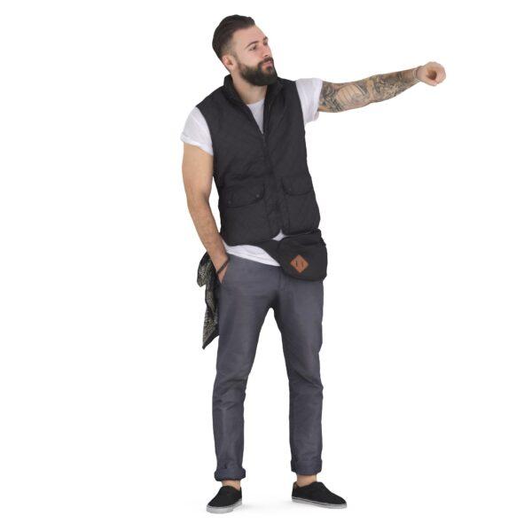 3d man points a finger - scanned 3d models - Renderbot