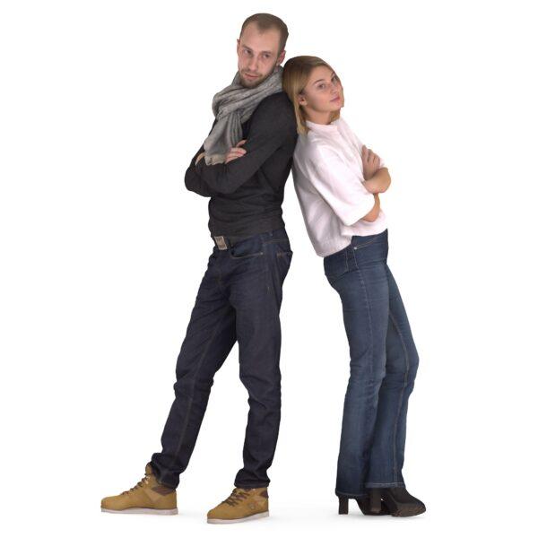 3d scanned couple posing - scanned 3d models - Renderbot