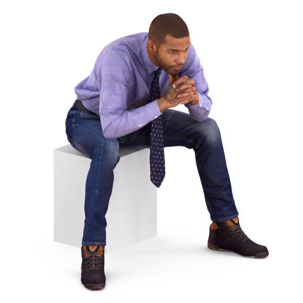 3d black man sitting pose - scanned 3d models - Renderbot