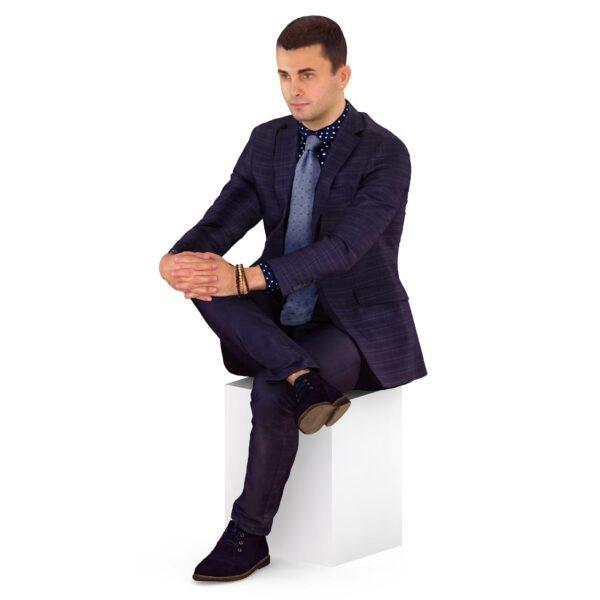 3d man sitting gog on leg - scanned 3d models - Renderbot