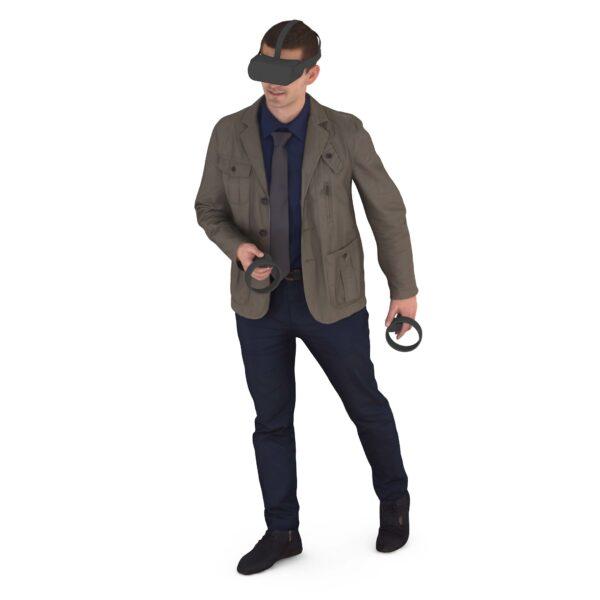3d scanned man in vr glasses - scanned 3d models - Renderbot
